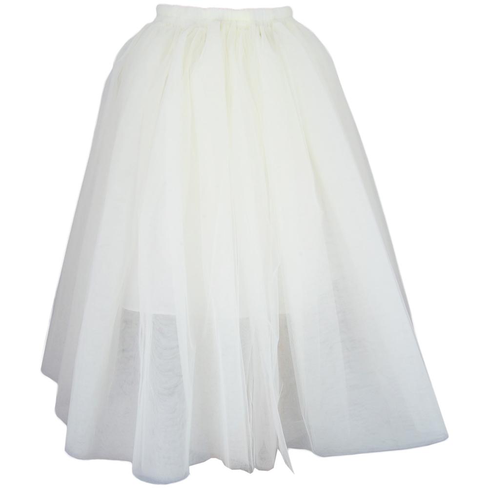 Tulle Midi Skirt - Cream   Style Icon`s Closet
