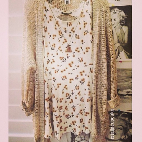 dress flowers floral white cute hipster blogger style nice summer jacket jewels