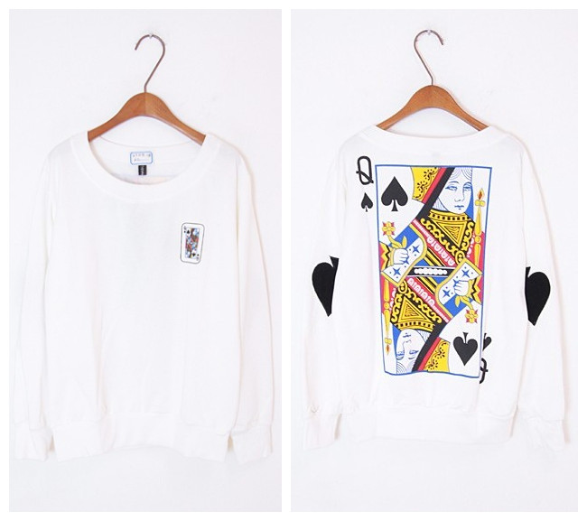 Poker spades Q long sleeve T-shirt sweater from Sweetbox Store on Storenvy