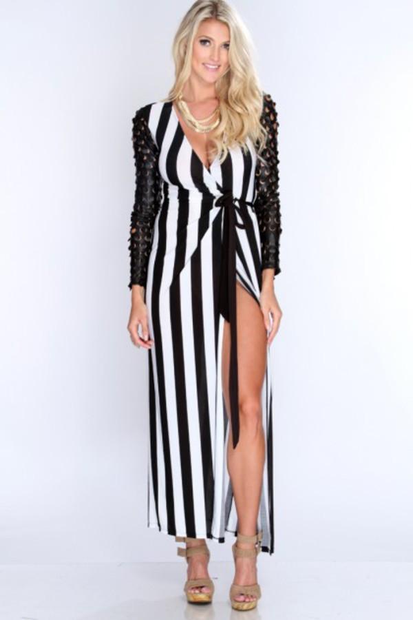maxi dress long maxi dress striped dress long sleeve maxi dress spikes amiclubwear