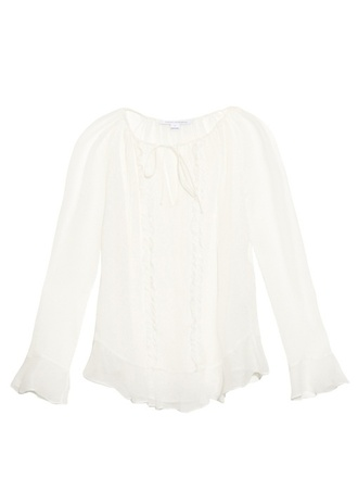 blouse fashion clothes silk-chiffon round neck delicate tie front ruffles