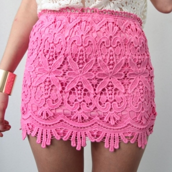 Pink Floral Scalloped Hem Crocheted Lace High Waisted Mini Tube Skirt 6 8 10 12   eBay