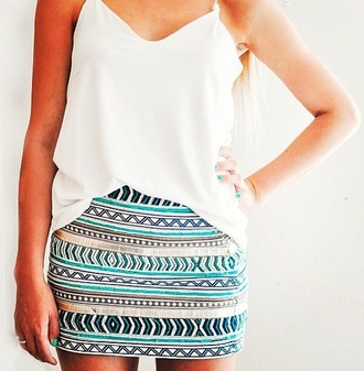 skirt tribal pattern pencil skirt blue tribal skirt summer pattern patterned skirt light blue triangle blouse shirt zara