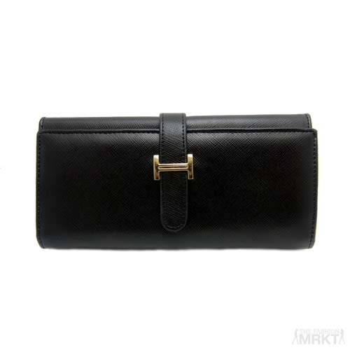 Hermes Inspired 'H' Tab Closure Saffiano Leather Bifold Wallet  / TheFashionMRKT