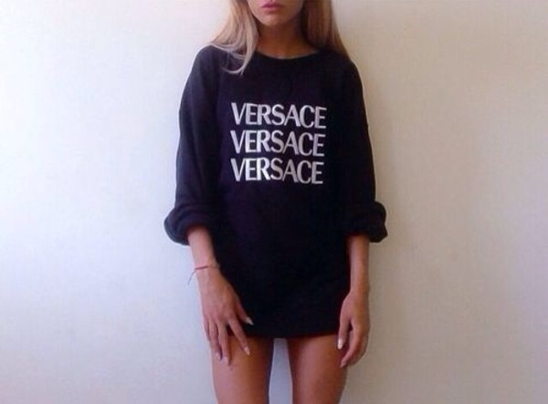 sweater black white versace sweatshirt shirt blouse