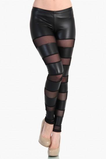 LoveMelrose.com From Harry & Molly | Sheer Mesh/ Pleather Striped Leggings- Black from Love Melrose - LEGGINGS - BOTTOMS