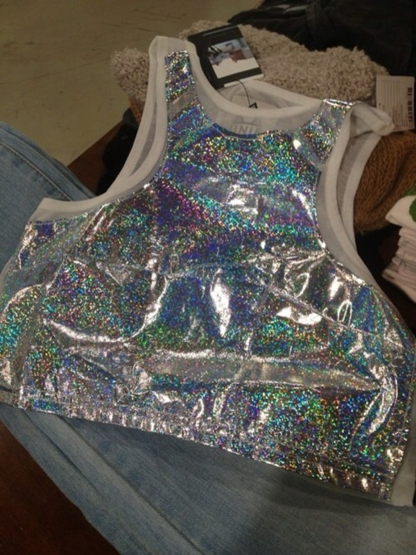 shirt glitter top shiny silver metallic holographic holographic top crop tops