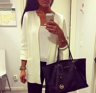 jacket white coat winter outfits summer cardigan ootd ootn style outfit fashion look look book zara topshop vintage michael kors clothes girl brunette festival holidays beach miss selfridge missguided urban outfitters withe jacket white luxury creme