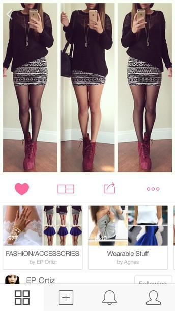skirt shirt heels