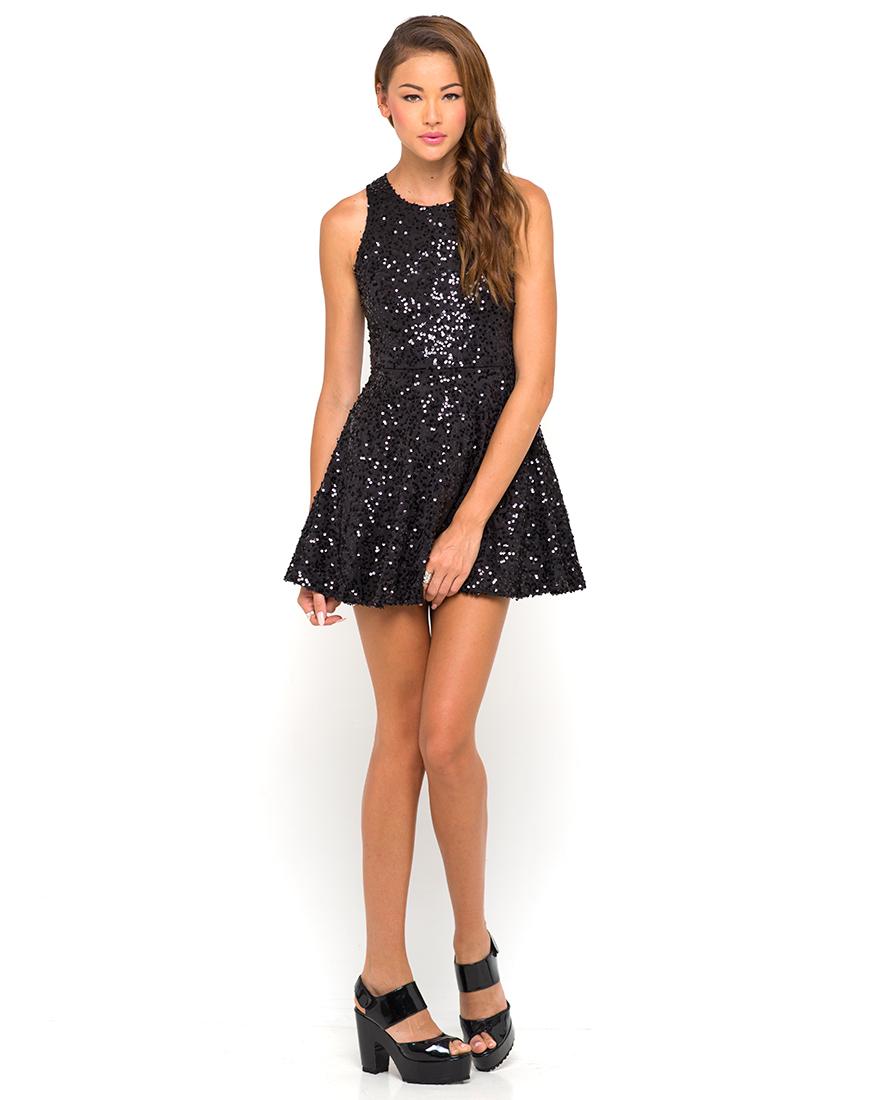 Buy Motel Spearmint Sequin Skater Dress in Black at Motel Rocks