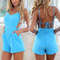 Sexy women celeb v-neck backless playsuit summer beach jumpsuit shorts