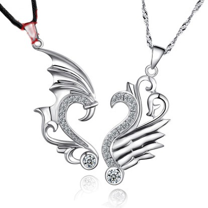 2 Piece Dragon Necklaces for Best Friends Sterling Silver Personalized Couples Gifts | His Her Necklaces and Bracelets | Engraved Wedding Rings | Couples Clothing