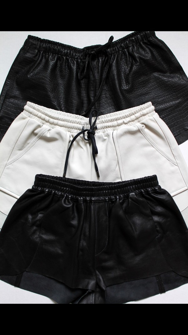 black leather leather shorts edgy