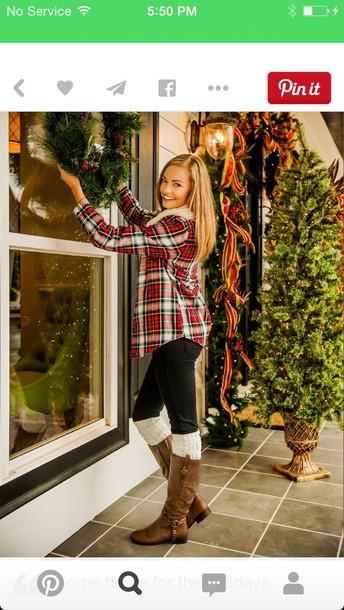 shirt plaid t-shirt leggings boots winter outfits