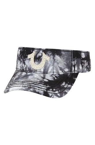 hat true religion tie dye black grey white black and white visor
