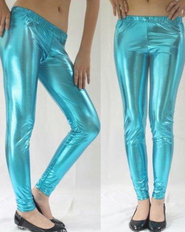 Turquoise Large Metallic Leggings Liquid Stretch Wet Vinyl Glossy Spandex New