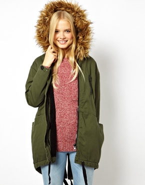 ASOS | ASOS Cocoon Parka With Oversized Fur Trim Hood at ASOS
