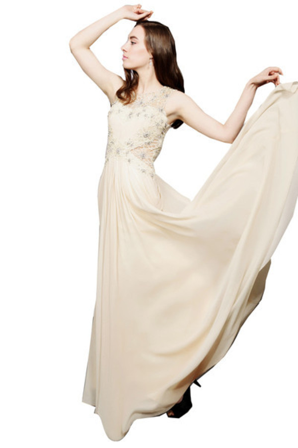 dress beige chiffon wedding dress lace floral dress