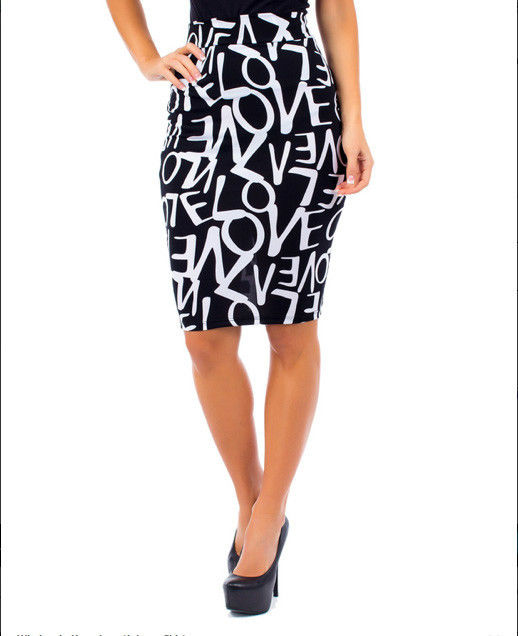 Women's Sexy Knee Length Love Pencil Skirt Black and White Juniors Sizes SML | eBay
