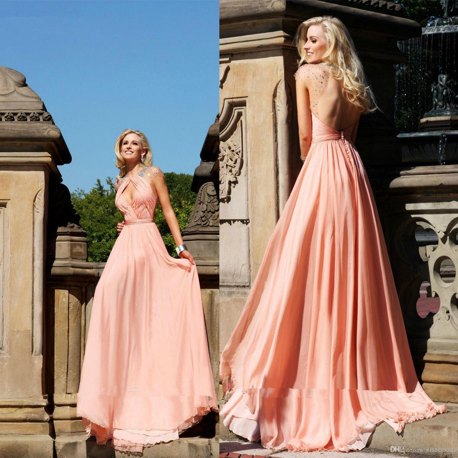 Wholesale 2014 Attractive Round Neck Prom Dresses Beaded Cap Sleeve Backless A-Line Floor-Length Chiffon Tarik Ediz Evening Gowns Party Dress, Free shipping, $119.0/Piece | DHgate Mobile