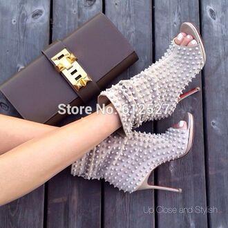 shoes high heels rivets rivet shoes red peep toe boots peep toe heels peep toe nude nude high heels nude sandals pumps ankle boots