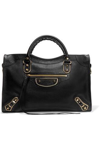 metallic leather black bag
