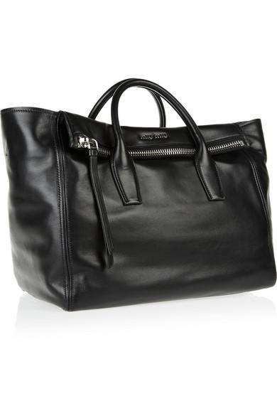 Miu Miu|Leather trapeze bag|NET-A-PORTER.COM