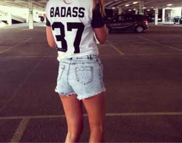 shirt badass t-shirt shorts black and white baseball tee t-shirt