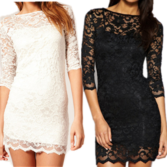 new plus size women clothing Bodycon peplum flower lace dress slash o neck sexy evening mini dress black , Free Shipping-inDresses from Apparel & Accessories on Aliexpress.com