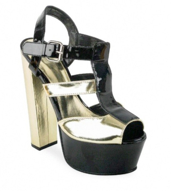 shoes heels platform shoes gold