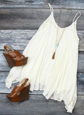 dress summer dress summer white dress wedges fashion hipster basic accessories teal necklace lace lace dress summertime teenagers shoes jewels romantic summer dress romantic dress sundress casual dress boho chic boho dress summer wedges swing dress spaghetti strap loose dress outfit white brown wedges tank dress short dress white lace loose wedge sandals brown shoes