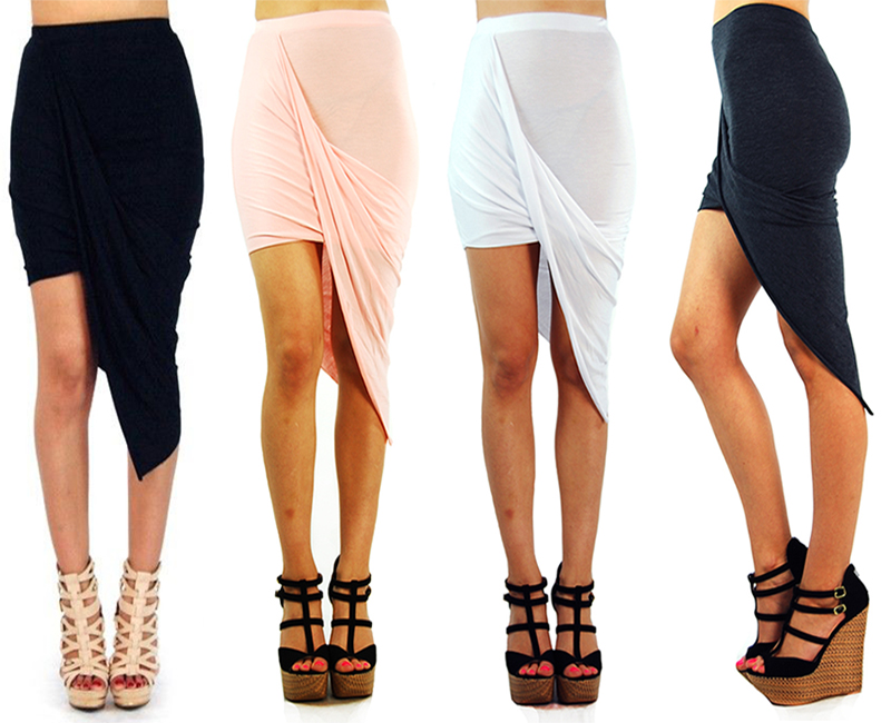 Asymmetrical Solid High Low Wrapped Elastic Waist Draped Cut Out Skirt 10083s   eBay