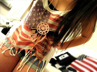 shirt jewels usa short american flag crop tops denim necklace tank top top flag