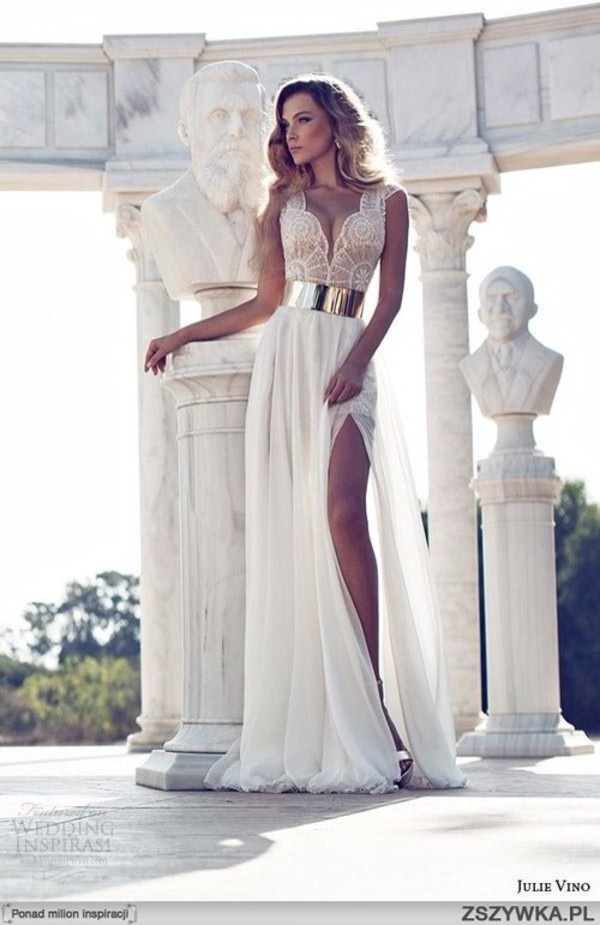prom dress white prom dress white long dress gown wedding dress lace dress slit dress silver wedding wedding clothes dress dress beautiful long dress gold sexy white cream dress formal white lace dress prom white white dress nude prom gown white lace prom dress with gold belt beige