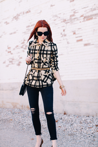 sea of shoes blogger jeans bag jacket ripped jeans belt jewels