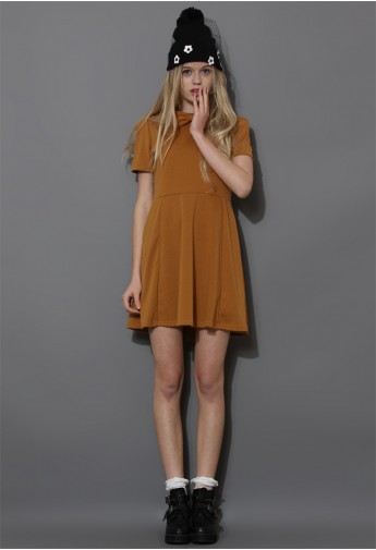Bowknot Skater Dress in Tan - Retro, Indie and Unique Fashion