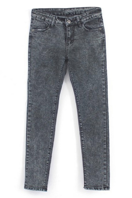 ROMWE | ROMWE Pocketed Skinny Deep Blue Jeans, The Latest Street Fashion