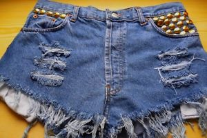 Vintage Levi's High Waisted Cut Off Shorts Studded Ripped Size XL XXL   eBay