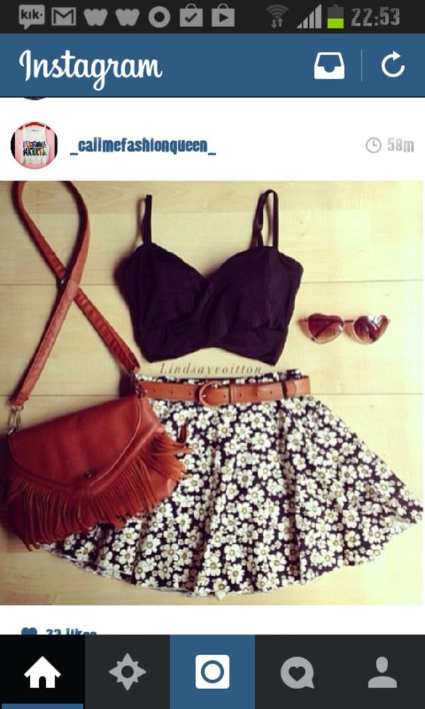 skirt white flowers belted summer flow sun blouse