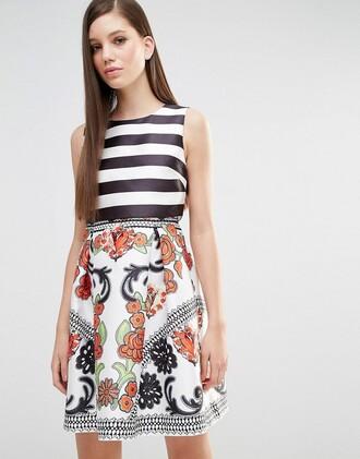 dress colorblock striped dress graduation dress floral dress