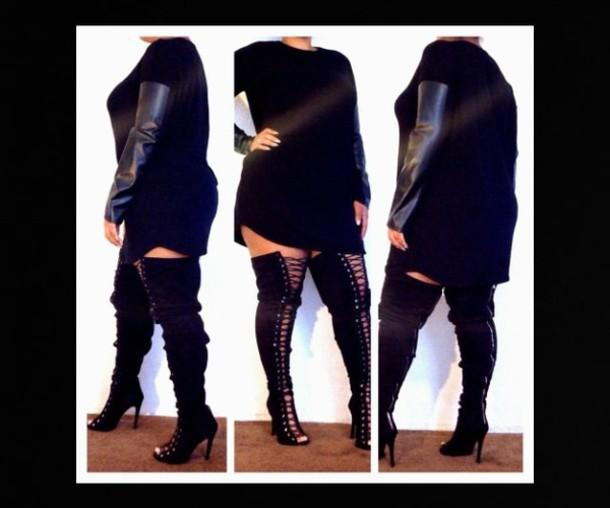 dress black leather sleeve tshirt dress