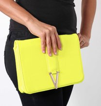 Neon Yellow Clutch - Gold Detailing - Attachable Side Strap on Wanelo