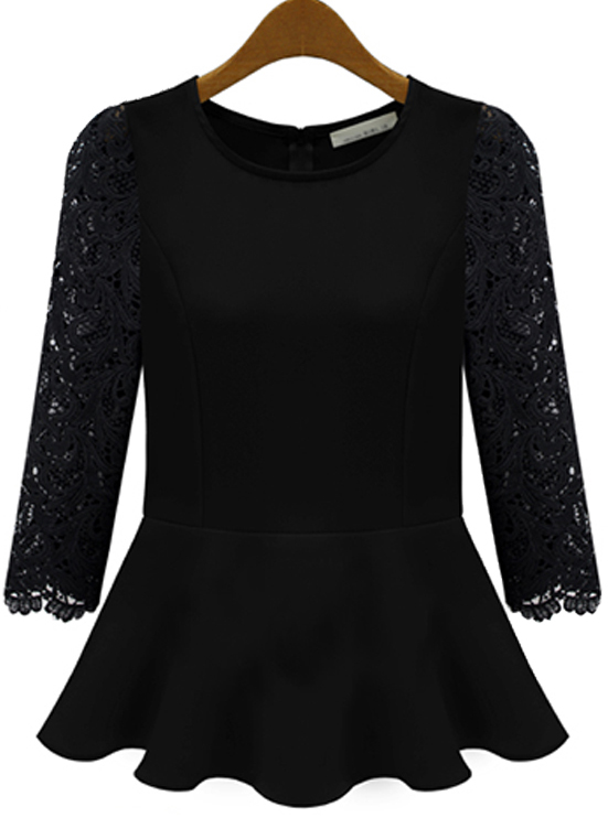 Black Contrast Lace Long Sleeve Pleated Blouse - Sheinside.com