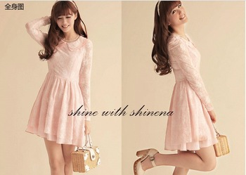 2013 New arrival women's slim long sleeve lace dress sweet princess bottoming dress pink/white Free shipping-in Dresses from Apparel & Accessories on Aliexpress.com