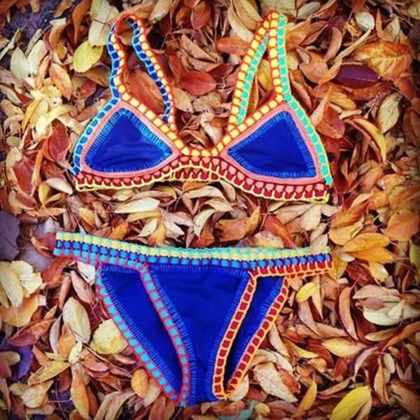 swimwear blue yellow red orange bottom colored bikini