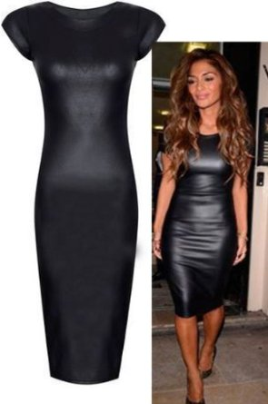 Amazon.com: Womens Cap Sleeved Black Wet Look Midi Dress (Aqa): Clothing