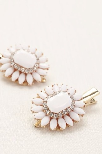 jewels prom beauty white hair clip wedding accessories