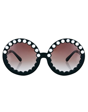 ASOS | ASOS Round Sunglasses With Pearl Highbrow at ASOS