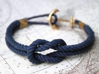 jewels bracelets braclet rope blue navy gold anchor