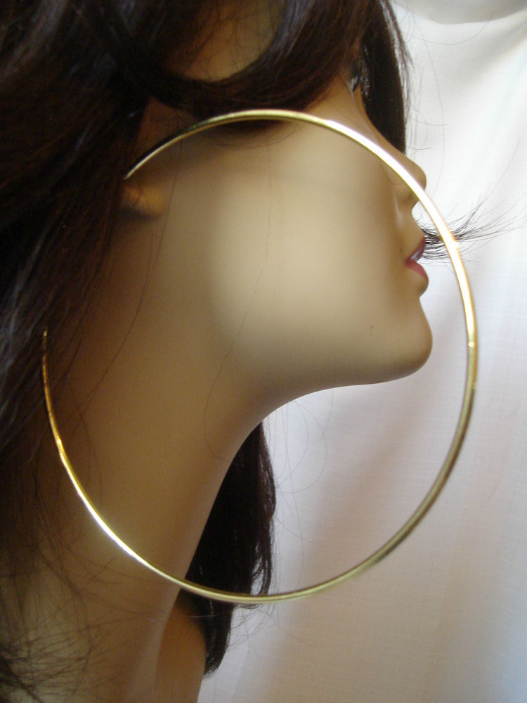 Extra Large Hoop Earrings Gold Tone 4 25 inch Simple Thin Hoops   eBay